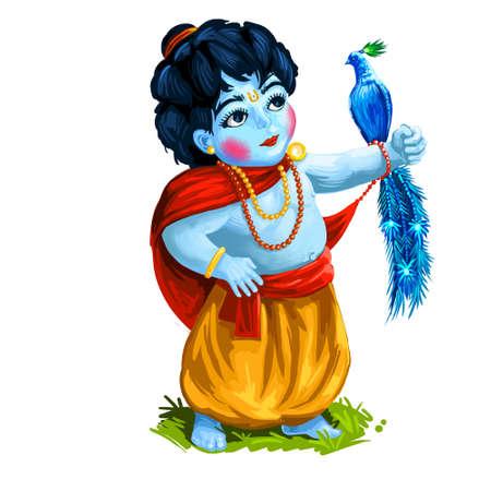 Krishna Janmashtami or Gokulashtami and peacock bird on hand isolated young hindu god. Birth of Krishna festival, eighth avatar of Vishnu. Hindu luni-solar calendar, Ashtami digital art illustration