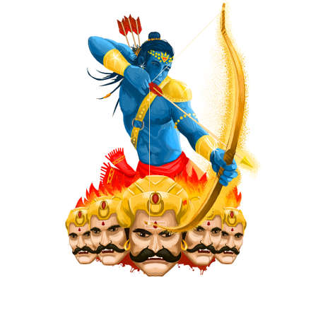 Maha Durga, Chandika Aparajita digital art illustration, t-shirt print, man with arrow. Vijayadashami Dasahara, Dusshera, Dasara, Dussehra Dashain major Hindu festival celebrated at end of Navratri.