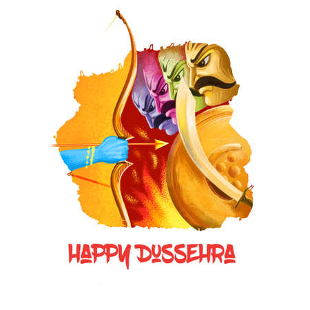 Dussehra Dashain major Hindu festival celebrated at end of Navratri. Maha Durga, Chandika Aparajita digital art illustration, t-shirt print, man with arrow. Vijayadashami Dasahara, Dusshera, Dasara.