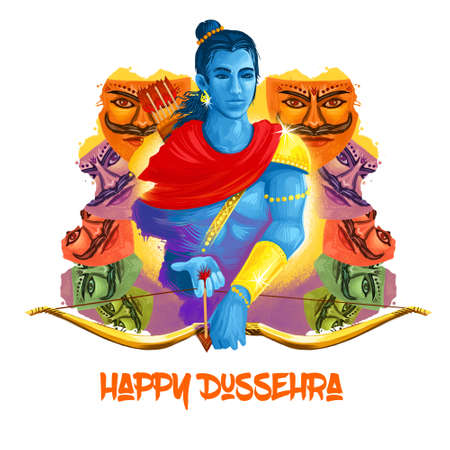 Vijayadashami Dasahara, Dusshera, Dasara, Dussehra Dashain major Hindu festival celebrated at end of Navratri. Maha Durga, Chandika Aparajita digital art illustration, t-shirt print, man with arrow 版權商用圖片