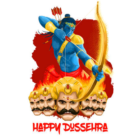Maha Durga, Chandika Aparajita digital art illustration, t-shirt print, man with arrow. Vijayadashami Dasahara, Dusshera, Dasara, Dussehra Dashain major Hindu festival celebrated at end of Navratri.