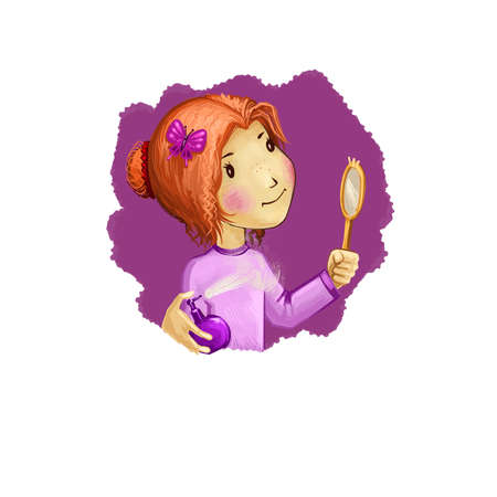 Virgo horoscope sign with children digital art illustration isolated on white. Young pretty girl looking at mirror, lady with bow in hairstyle enjoys makeup web print t-shirt design poster with kid