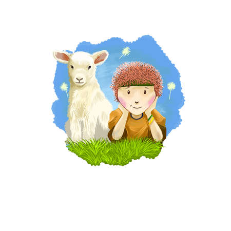 Aries horoscope sign with children digital art illustration isolated on white. Little boy and young cow sitting on the meadow on background of blue sky, horned pet animal sign for prints design Banco de Imagens - 131779219