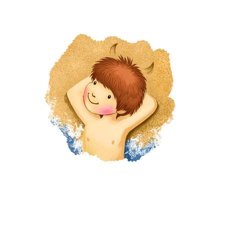 Capricorn horoscope sign with children digital art illustration isolated on white. Young boy sandbathing on seashore lying under hot sun, funny kid on seabeech web print t-shirt design summer concept