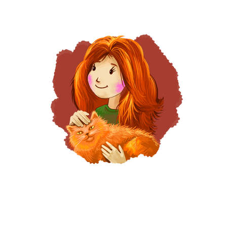 Leo horoscope sign with children digital art illustration isolated on white. Redhead young girl holding fluffy cat in hands, pussy kitten with pretty lady web print t-shirt design poster with kid Banco de Imagens - 131779242