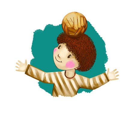 Libra horoscope sign with children digital art illustration isolated on white. Afro-american boy playing with ball holding it on head, red cheek teen football web print t-shirt design poster with kids Banco de Imagens - 131779244