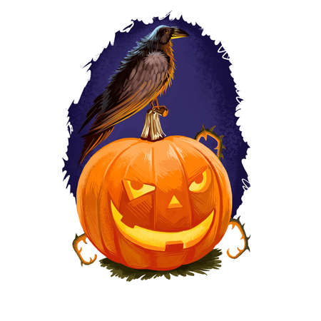 Happy Halloween greeting card with scary smiling pumpkin jack-o-lantern and black crow horror bird isolated on dark blue sky. Digital art illustration with pumpkin, candle inside and bird animal.