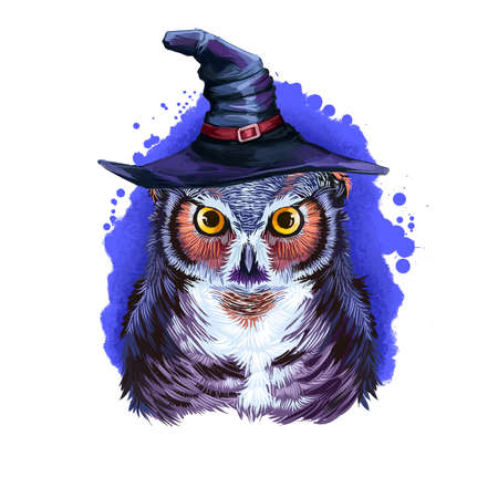 Wise owl in wizard hat, wisdom bird on backdrop of blue night sky, symbol of autumn holiday. Flying animal in wizard headwear. Happy Halloween digital poster isolated on white background