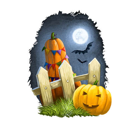 Happy Halloween greeting card smiling scary pumpkin with awful face near fence in countryside with big decorated yellow pumpkin squash, bats at night sky. Digital art illustration, invitation card.