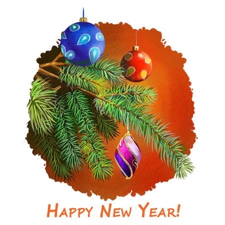 Happy New Year greeting card with decorated fir tree by holiday balls. Digital art illustration of Christmas decorations hanging on Xmas tree branch isolated. Graphic clip art design for web, print