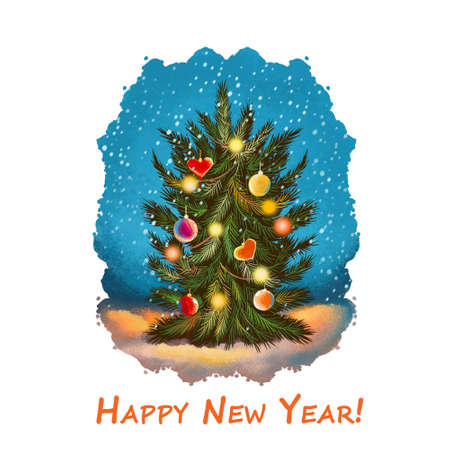 Happy New Year greeting card with decorated Xmas tree on snowy background. Digital art illustration with hand drawn spruce with bubble balls, hearts and lights, Christmas postcard with fir-tree