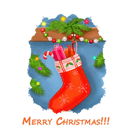 Merry Christmas postcard with stocks stockings full of candies and presents gift boxes. Digital art illustration of sock on wall, spruce with lights and garland, happy New Year greeting card design Stock Photo