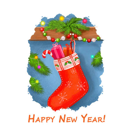 Happy New Year postcard with stocks stockings full of candies and presents gift boxes. Digital art illustration of sock on wall, spruce with lights and garland, Merry Christmas greeting card design
