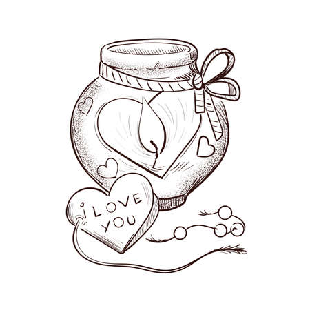 Lantern lamp with burning heart candle isolated sketch. Vector illustration of postcard on February 14, gift present on romantic party, burning symbol of love St. Valentines day holiday greeting card Ilustração