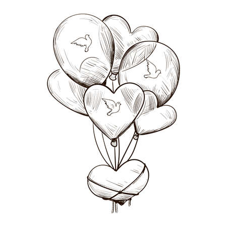 Bundle of air balloons with pigeon doves print isolated vector sketch. Postcard on February 14, gift present on romantic party, t-shirt print heart pillow. St. Valentines day holiday greeting card
