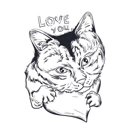Cat animal on monochrome heart, love you isolated feline pet sketch. Vector illustration postcard February 14 cute grey striped kitten symbol of love and passion, St. Valentines day holiday greeting card Ilustração