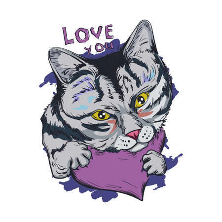 Cat animal on purple heart, love you isolated feline pet sketch. Vector illustration postcard February 14, cute grey striped kitten symbol of love and passion, St. Valentine day holiday greeting card