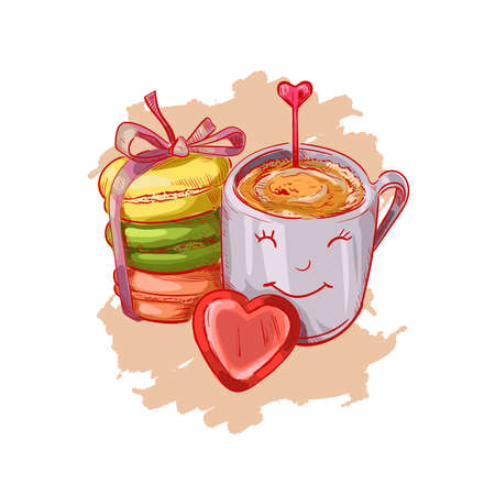 Cup of coffee, macaroons and heart shape chocolate candy isolated sketch. Vector illustration of postcard on February 14, gift or present on romantic party, St. Valentines day holiday greeting card. Ilustração