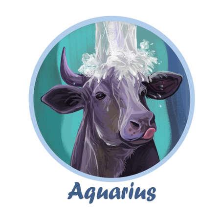 Aquarius metal ox year horoscope zodiac sign isolated. Digital art illustration of chinese new year symbol, astrology lunar calendar sign. Horned animal, aquarius horoscope icon, oriental cow.