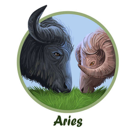 Aries metal ox year horoscope zodiac sign isolated. Digital art illustration of chinese new year symbol, astrology lunar calendar sign. Horned animal, aries horoscope icon, oriental cow