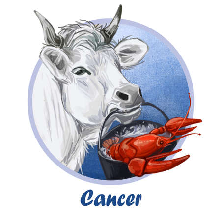 Cancer metal ox year horoscope zodiac sign isolated. Digital art illustration of chinese new year symbol, astrology lunar calendar sign. Horned animal Cancer horoscope icon oriental cow with crayfish
