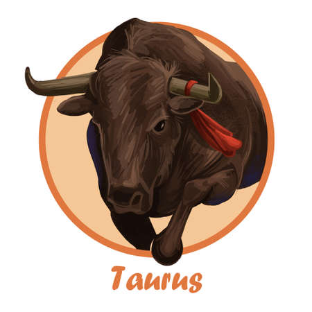 Taurus metal ox year horoscope zodiac sign isolated. Digital art illustration of chinese new year symbol, astrology lunar calendar sign. Horned animal Taurus horoscope icon oriental cow, bull with red