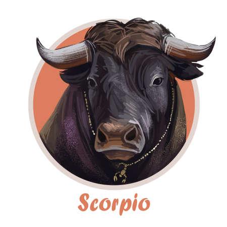 Scorpio metal ox year horoscope zodiac sign isolated. Digital art illustration of chinese new year symbol, astrology lunar calendar sign. Horned animal, Scorpio horoscope icon, oriental cow.