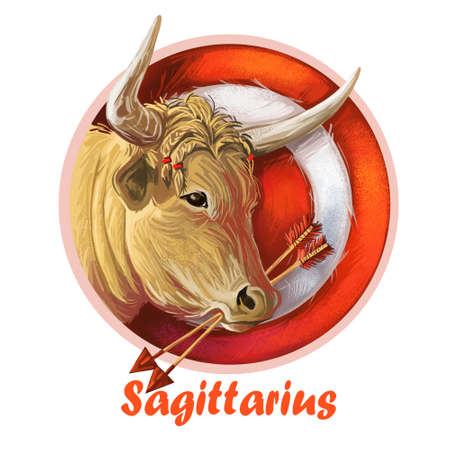 Sagittarius metal ox year horoscope zodiac sign isolated. Digital art illustration of chinese new year symbol, astrology lunar calendar sign. Horned animal, Saggittarius horoscope icon, oriental cow.