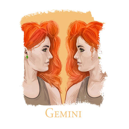 Gemini woman isolated digital art illustration. Horoscope sign, two red haired fashionable woman looking on each other. Beautiful Gemini girls, identical similar people, friendly twins characters. Imagens