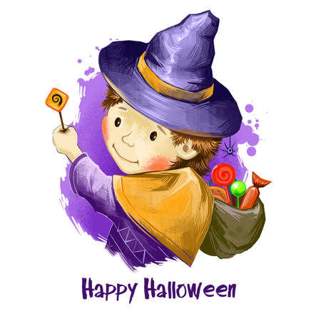 Male child wizard cute hat with bag full of sweets and magic wand. Boy celebrating halloween with treats. Trick or Treat concept. Happy Halloween digital poster isolated on white background banner.