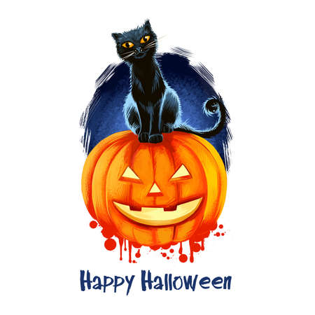 Smiling pumpkin with candle inside and black cat sitting on background of scary blue sky and text, feline and darkness, blurred splashes. Happy Halloween digital poster isolated on white background