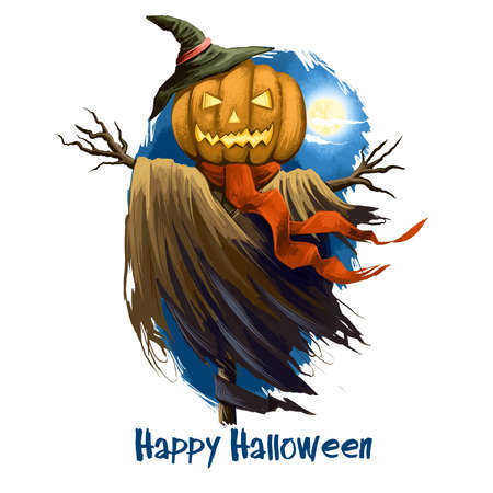 Dummy scarecrow with scary pumpkin instead of head, in witchs hat and hands made of tree branches. Awful cartoon character symbol of holiday. Happy Halloween digital poster isolated on white.