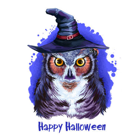 Wise owl in wizard hat, wisdom bird on backdrop of blue night sky, symbol of autumn holiday. Flying animal in wizard headwear. Happy Halloween digital poster isolated on white background. Stok Fotoğraf - 149833036