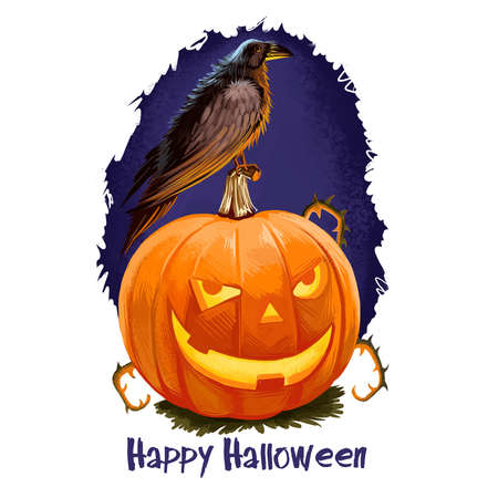 Smiling pumpkin with candle inside and black crow sitting on background of scary blue sky and text, feline and darkness, blurred splashes. Happy Halloween digital poster isolated on white background..