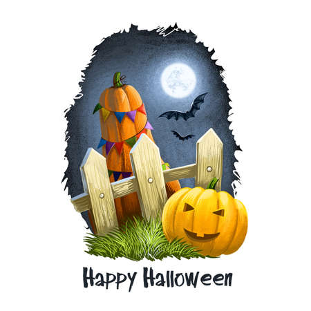 Smiling scary pumpkin with awful face near fence in countryside with big decorated yellow watermelon and bats flying on night sky. Happy Halloween digital poster isolated on white background. Stok Fotoğraf