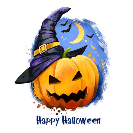 Scary holiday pumpkin with awful face in wizard hat on backdrop of dark night sky with moon and flying bats. Happy Halloween digital poster isolated on white background, symbol of party banner.