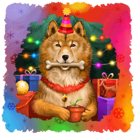 Cute dog in holiday hat and bone in mouth. Year of Dog by Chinese Horoscope. Merry Christmas, Happy New Year greeting card design. Graphic clip art for web, print, digital art illustration. Stok Fotoğraf