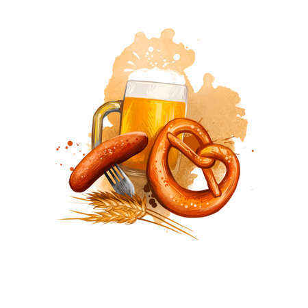 Oktoberfest holiday banner illustration with bavarian sausage on fork, mug of beer and salted pretzel near ears of wheat digital art banner isolated on white background. October festival accessories Reklamní fotografie - 157646925
