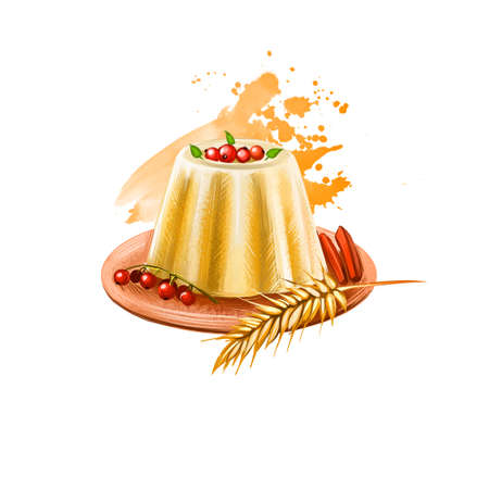 Happy thanksgiving day banner digital art illustration with milk chocolate cupcake decorated with red berries, ears of wheat and candies on plate, holiday treat greeting card design poster Reklamní fotografie