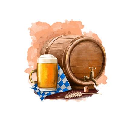 Oktoberfest holiday banner illustration with wooden barrel and mug with beer on paper, traditional poster with accessories for festive celebration. Digital art banner greeting cad design Reklamní fotografie