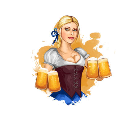 Oktoberfest holiday banner illustration with bavarian girl holding glasses of beer in hands. Digital art illustration of greeting card for october festival celebration in Germany with national woman
