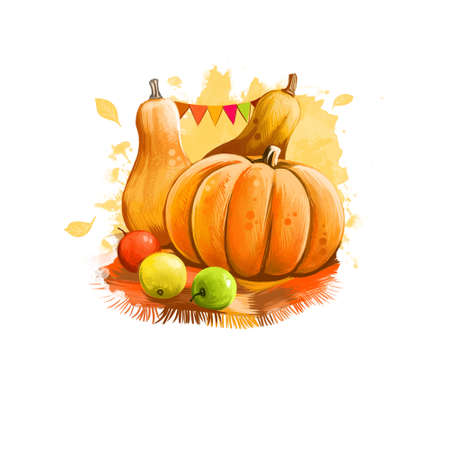 Happy thanksgiving day banner illustration with decorated pumpkins and yellow red and green apples digital art isolated on white background. Holiday traditional poster for celebrating autumn party Reklamní fotografie