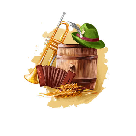 Oktoberfest holiday banner retro things wooden barrel with beer, vintage pipe, accordion, ear of wheat and green hat with feather, festival accessories isolated on white. October holiday celebration Reklamní fotografie