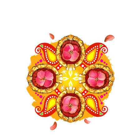 Happy Diwali digital art illustration isolated on white background. Hindus festival of lights. Deepavali hand drawn graphic clip art drawing for web, print. Decorative indian ornaments