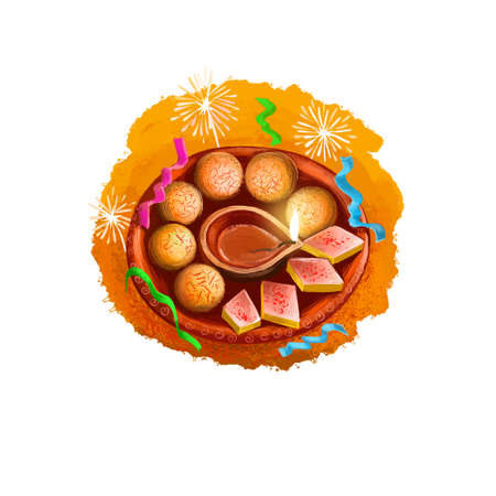Happy Diwali digital art illustration isolated on white background. Indian festival of lights. Deepavali hand drawn graphic clip art drawing for web, print. Burning oil lamp on plate with sweets Reklamní fotografie