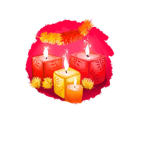 Happy Diwali digital art illustration isolated on white background. Hindus festival of lights. Deepavali hand drawn graphic clip art drawing for web, print. Dcorative candles burning with bright flame Reklamní fotografie - 157943383