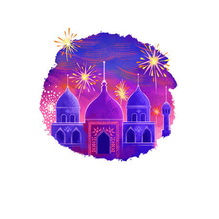 Happy Diwali digital art illustration isolated on white background. Hindus festival of lights. Deepavali hand drawn graphic clip art drawing for web, print. Buddist temple domes in light of fireworks
