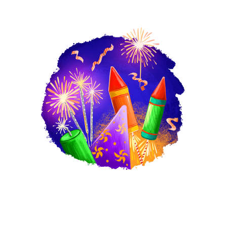 Happy Diwali digital art illustration isolated on white background. Hindus festival of lights. Deepavali hand drawn graphic clip art drawing for web, print. Flying fireworkd and burning sparklers Reklamní fotografie - 157943406