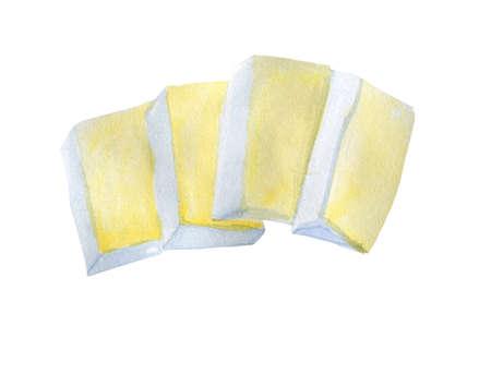 White cheese Asiago, Italian cows cheese. Beyaz peynir, salty cheese made from unpasteurized. Watercolor hand drawn illustration. Manouri Greek semi-soft, fresh whey cheese, goat and sheep milk whey Reklamní fotografie
