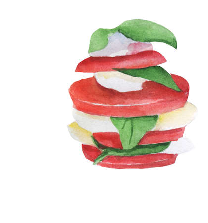 Fresh italian caprese salad with mozzarella and tomatoes. Simple and tasty starter of fresh tomatoes, mozzarella cheese and basil. For restaurant menu, banners, posters. Organic healthy eating snack Reklamní fotografie